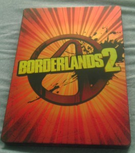 The front of the Borderlands 2 steel game case