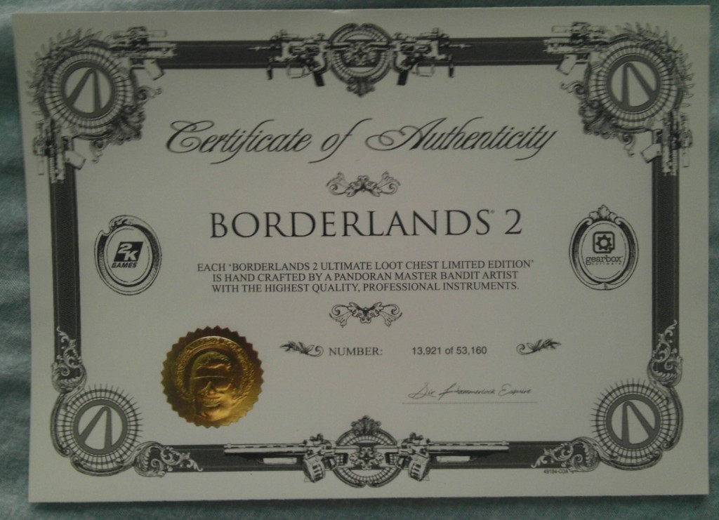 Borderlands 2 Ultimate Loot Chest Edition Certificate of Authenticity
